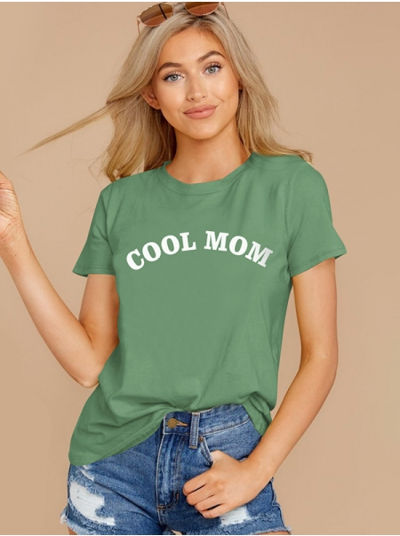 Dresswel Women Cool Mom Letter Printing Crew Neck Short Sleeve Stylish T-shirt Top