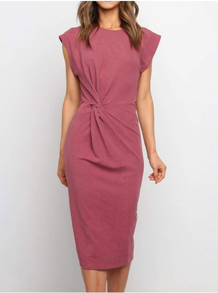 Dresswel Women Solid Color Crew Neck Knotted Sleeveless Slim Fashion Simple Midi Dress