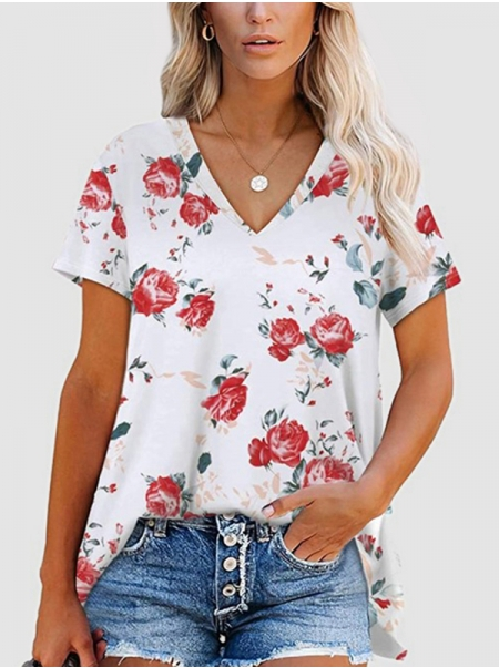 Dresswel Women Floral Printed V Neck Fashion Short Sleeve Casual Relaxed T-Shirts Tops
