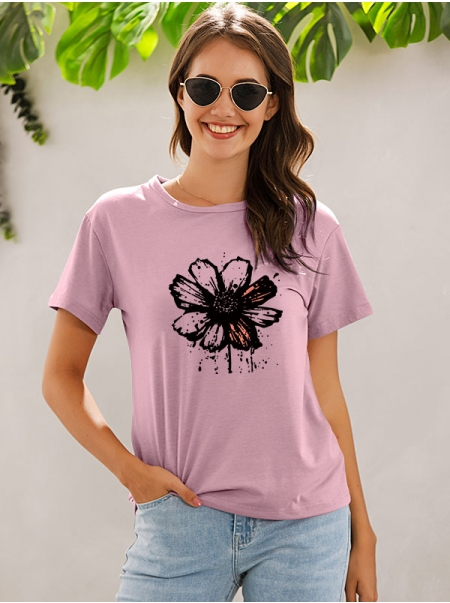 Dresswel Women Daisy Floral Printing Short Sleeve Crew Neck Shuimo Style Tee Top
