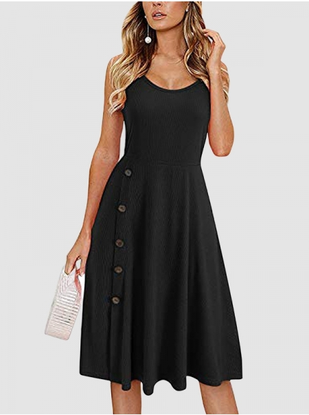 Dresswel Women Solid Color Spaghetti Strap Buttons Crew Neck Slim Midi Dress