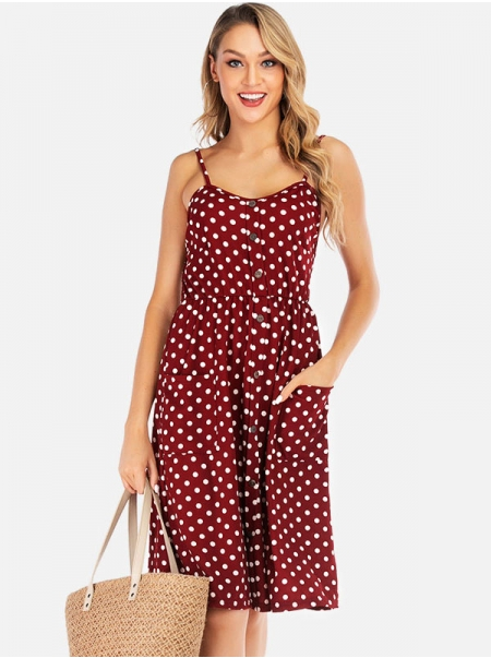 Dresswel Women V-neck Mid-length Print Sling Chiffon Dress with Buttons and Pockets