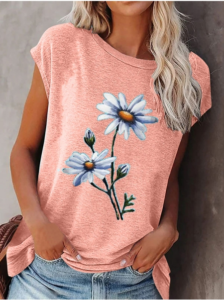 Dresswel Women Daisy Floral Graphic Printed Cap Sleeve Round Neck Casual T-shirt Top
