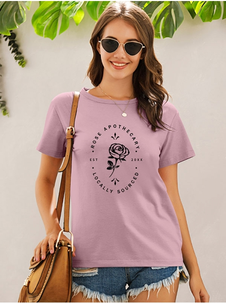 Dresswel Women Rose Apothecary Locally Sourced Letter Floral Print T-shirt Tops