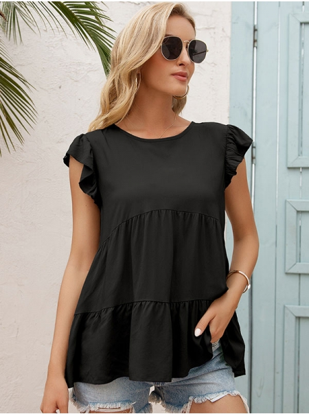 Dresswel Women Solid Color Round Neck Pleated Short Sleeve Simple Casual T-Shirts Tops