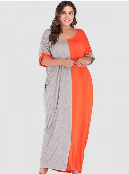 Dresswel Women Contrast Color Pocket Stitching Scoop Neck Half Sleeve Maxi Dresses