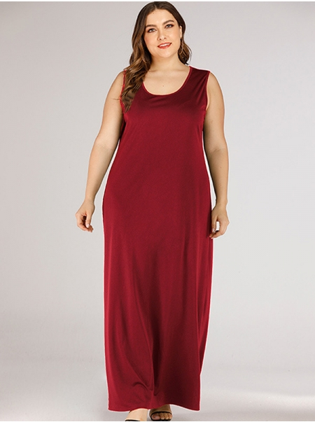 Dresswel Women Solid Color Scoop Neck Sleeveless Summer Ankle Length Tank Maxi Dress