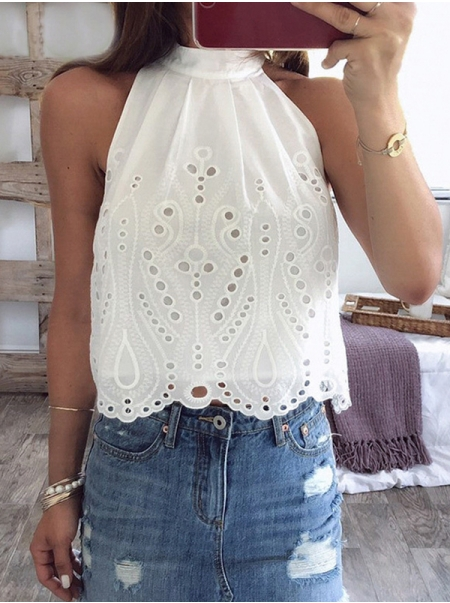 Dresswel Women Solid Color Dots Hollow Out Strappy Wavy Hem Halter Neck Blouse Tops