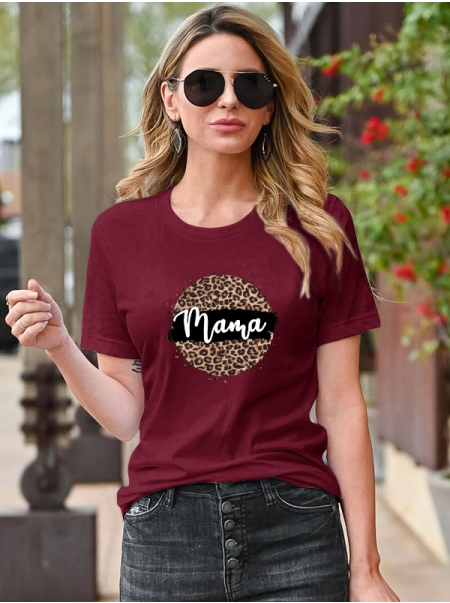 Dresswel Women Mama Letter Leopard Printing Crew Neck Short Sleeve T-shirt Tops