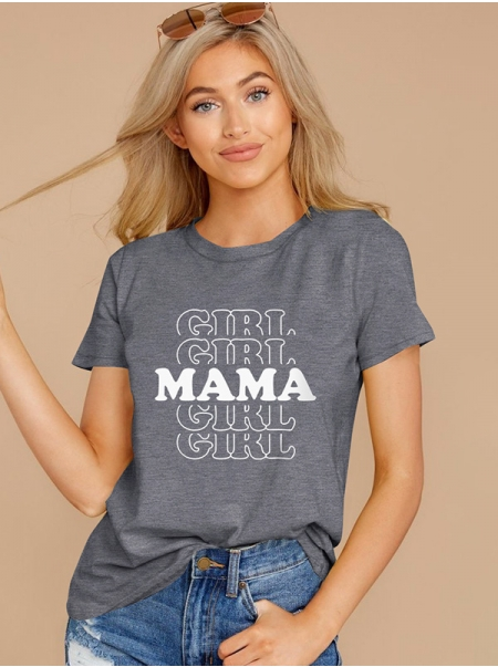 Dresswel Women GIRL MAMA Letter Printed Mother's Day Short Sleeve T-Shirts Tops