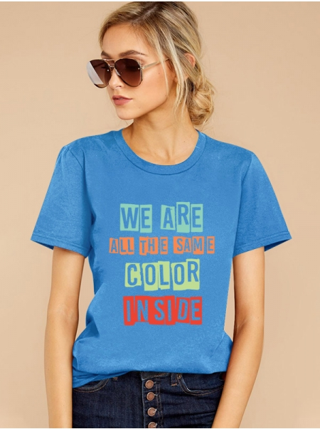 Dresswel Women Short Sleeve We Are All The Same Color Inside Letter Printed Mother's Day T-Shirts Tops