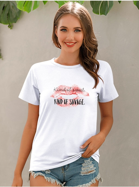 Dresswel Women Kind of Sweet Kind of Savage Red Lip Graphic Print T-shirt Tops