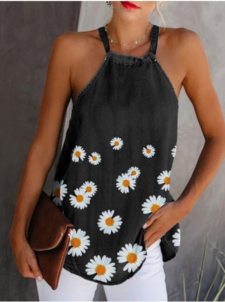 Dresswel Women Daisy Printed Halter Neck Sleeveless Charming Fashion Cami Tops