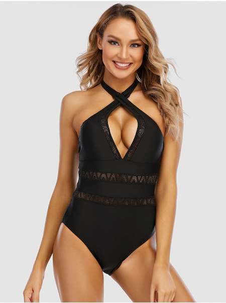 Dresswel Women Black Plunge Neck Hollow Out One Piece Monokini Swimsuit