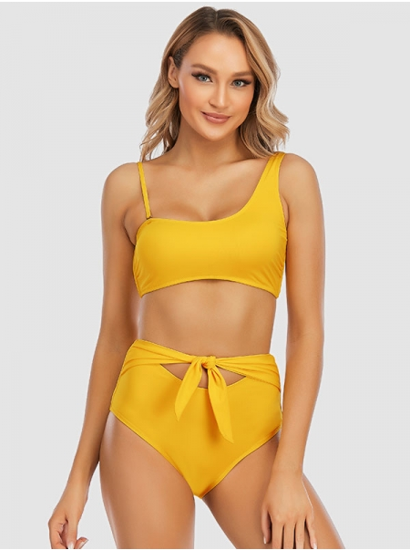 Dresswel Women Bathing Suit Solid Color Knot High Waist Two Pieces Swimsuit