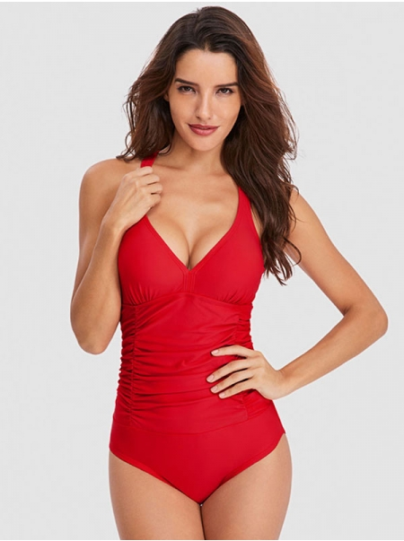 Dresswel Women Ruching Solid Color Plunge Neck Monokini Swimsuit