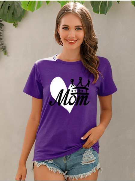 Dresswel Women Mom Shirt Heart Crown Print Mama Tee Mother`s Day T-shirt Tops