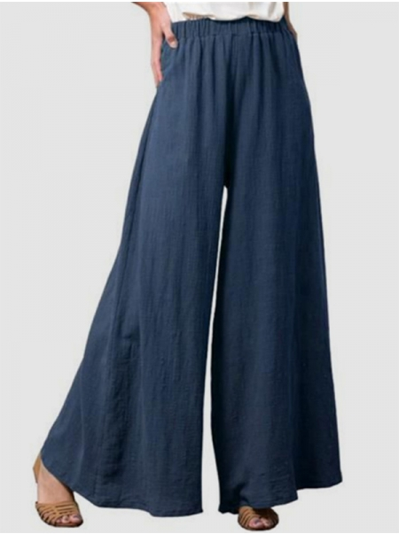 Dresswel Women's Soft Pants Solid Color Elastic Waist Wide Leg Casual Loose Street Pants Bottoms