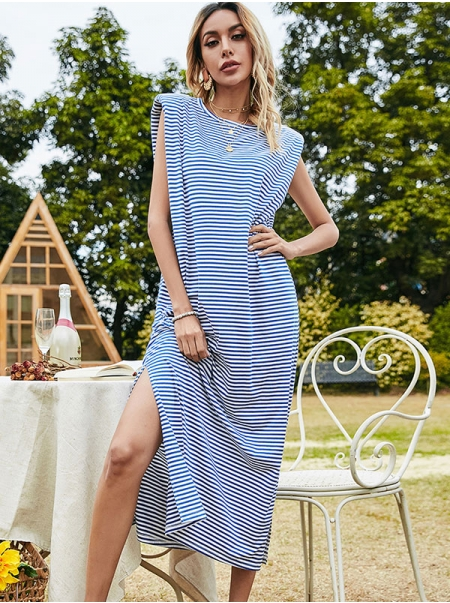 Dresswel Women Stripe Printed Crew Neck Sleeveless Side Split Loose Fashion Midi Dress