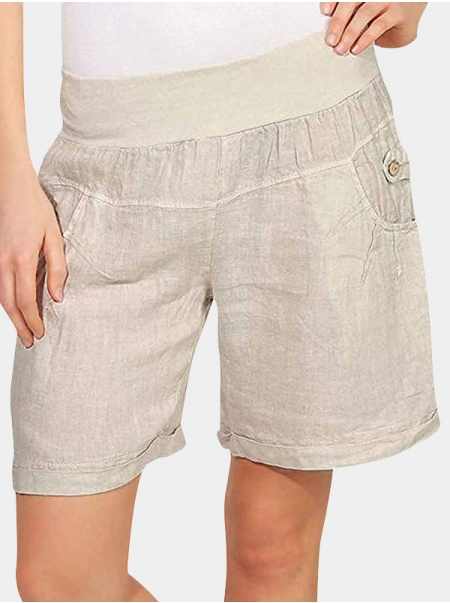 Dresswel Women's Soft Shorts Solid Color Sticthing Pockets Button Elastic High Waist Shorts Bottoms