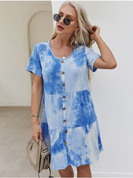 Dresswel Women Tie-Dyed Gradient Front Button Crew Neck Short Sleeve Midi Dress