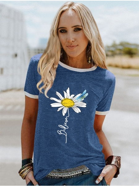 Dresswel Women Believe T-shirt with Daisy and Dragonfly Print Colorblock Tee Top