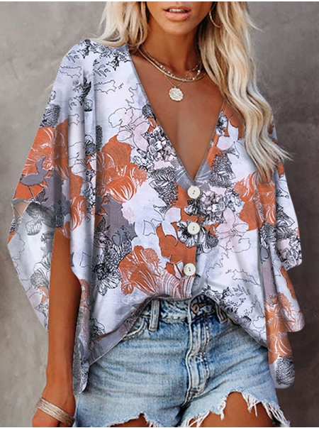Dresswel Women Floral Tree Tie Dye Printed V Neck Short Sleeve Buttons Shirts Tops