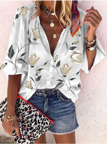 Dresswel Women Standing Neck 3/4 Sleeve Floral Printed Buttons Down Blouse Tops