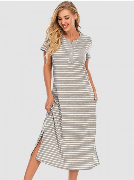 Dresswel Women Stripes Button Pocket Patchwork Side Split Hem Notch Neck Midi Dress