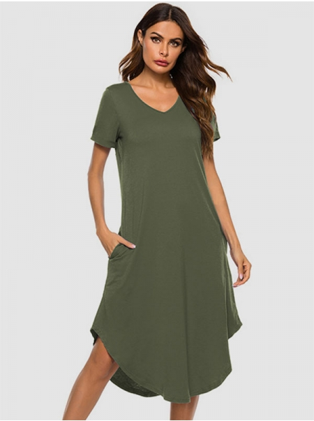 Dresswel Women Solid Color Pocket Spliced Curved Hem Short Sleeve V Neck Midi Dress