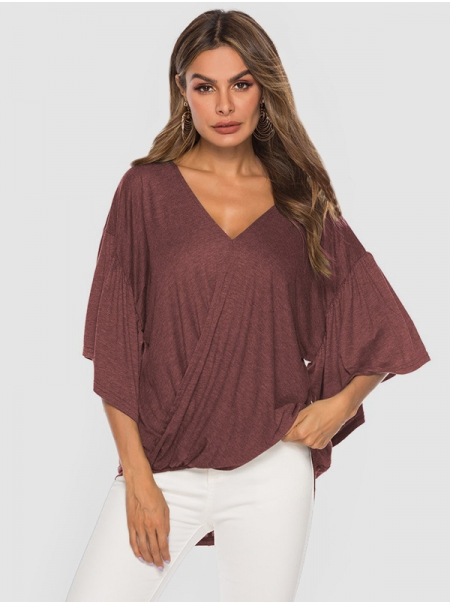 Dresswel Women Solid Color V Neck Knotted Detail Ruffle Sleeve Blouse Tops