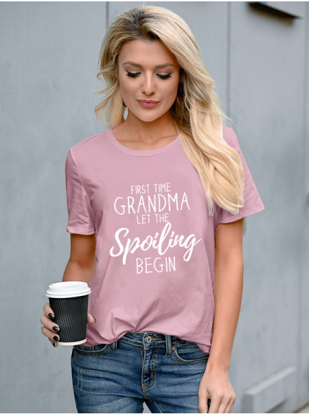 Dresswel Women First Time Grandma Let The Spoiling Begin Mother's Day Short Sleeve T-Shirts Tops