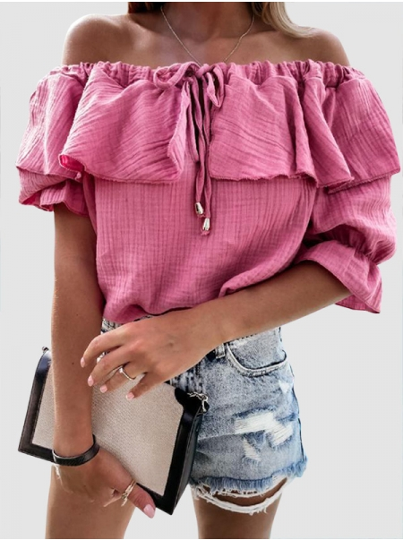 Dresswel Women Solid Color Ruffled Off-The Shoulder Short Sleeve Casual Blouse Tops