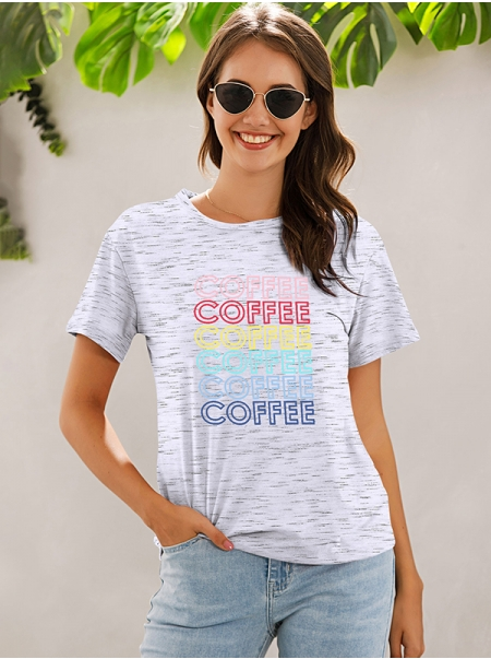Dresswel Women Round Neck Coffee Colorful Letter Printed Short Sleeve Relaxed T-Shirts Tops