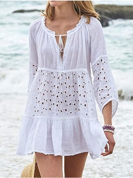 Dresswel Women Front Tie Solid Color 3/4 Sleeve Hollow Out Eyelet Beach Bikini Cover-Ups
