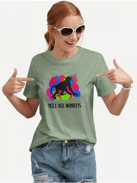 Dresswel Women Price Hill Monkeys Letter Watercolor Graphic Printing T-shirt Tops