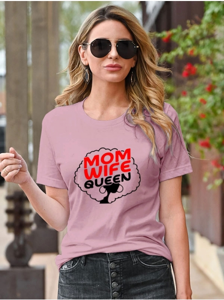 Dresswel Women Mother's Day Mom Wife Queen Letter Pattern Printed Short Sleeve T-Shirts Tops