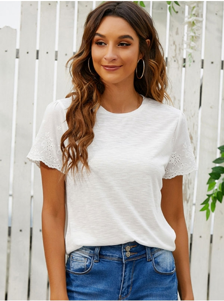 Dresswel Women Crew Neck Short Sleeve Embroidery Eyelet Solid Color Comfy T-Shirts Tops