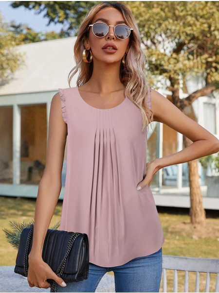 Dresswel Women Solid Color Crew Neck Ruffled Sleeveless Pleated Blouse Tops