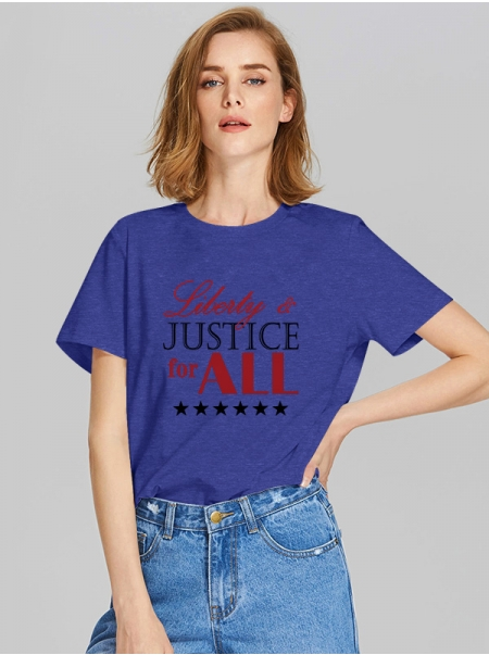 Dresswel Women Liberty And Justice for ALL Stars Graphic Print Crew Neck T-shirt Tops