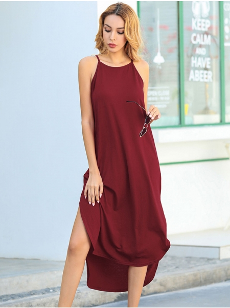 Desswel Women Halter Neck Summer Solid Color Spaghetti Strap Side Slit Midi Dress
