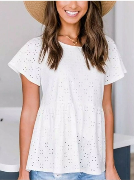 Dresswel Women Solid Color Crochet Cutout Ruching Stitching Short Sleeve Blouse Tops
