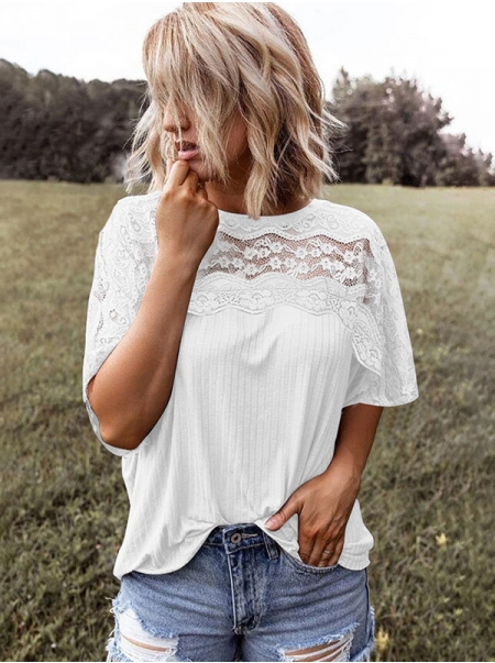 Dresswel Women Solid Color Lace Crochet Cutout Short Sleeve Round Neck Tee Tops