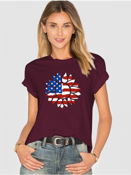 Dresswel Women Independent Day American Flag Sunflower Pattern Printed Short Sleeve T-Shirts Tops