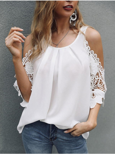 Dresswel Women Solid Color Crochet Hollow Out Cold Shoulder Half Sleeve Blouse Tops