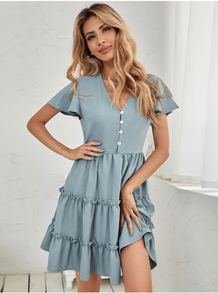Dresswel Women Flared Short Sleeve Solid Color Front Buttons A-Line Mini Dress