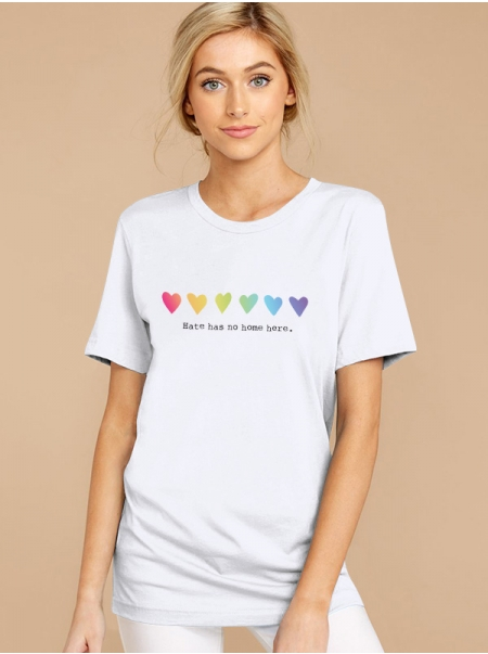 Dresswel Women Hate Has No Home Here Letter Colorful Heart Print Crew Neck Tee Top