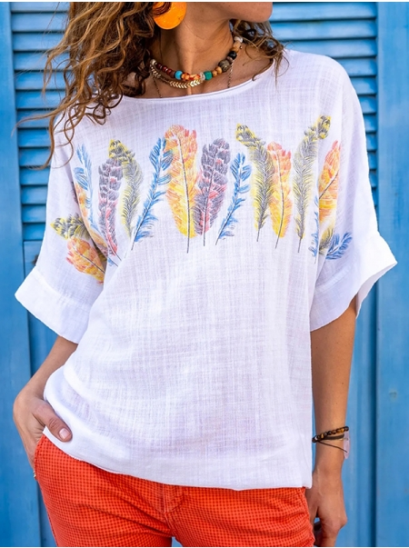 Dresswel Women Casual Half Sleeve Shirts Colorful Feather Print Graphic Pullover Tee Tops