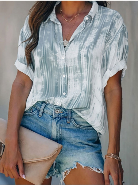 Dresswel Women Tie-Dyed Gradient Button Classic Collared Rolled Cuff Blouse Top