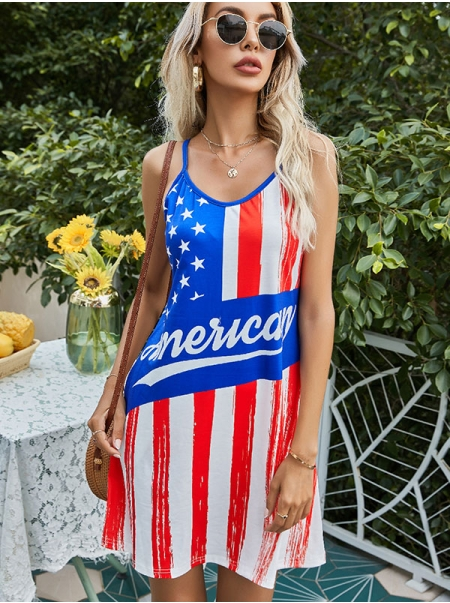 Dresswel Women American Flag Print Spaghetti Strap Independence Day Mini Dress